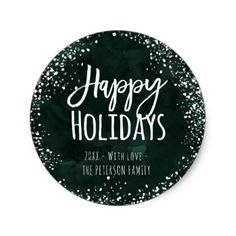 Green watercolor christmas happy typography classic round sticker - New Year's Eve happy new year designs party celebration Saint Sylvester's Day