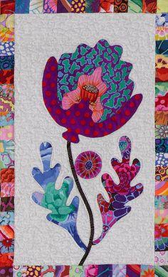 close up of flower # 21 Quilt Block Patterns, Applique Patterns, Applique Quilts, Landscape Art Quilts, Patch Aplique, Flower Quilts, Miniature Quilts, Hand Applique, Jacobean