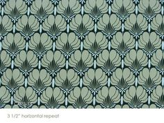 """Amy Butler designer fabric called Imperial Fans in Dk. Green,  1 yard and 24"""" inch piece"""