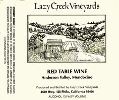 Lazy Creek - Red Table Wine - Anderson Valley