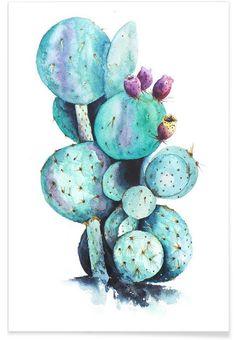 Cactus Love en Affiche premium par Annet Weelink Design | JUNIQE