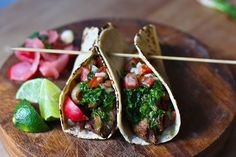 Feasting at Home- Seasonal Recipes: Grilled Steak Tacos with Cilantro Chimichurri Sauce