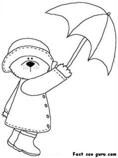 Printable Riscos cute bear with umbrella coloring page - Printable Coloring Pages For Kids