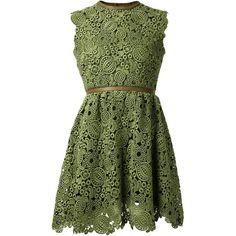Green cotton leaf lace dress from Valentino featuring a sleeveless design, a round neck, a pleated skirt and a cut out back.