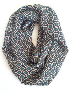 Brown Geo Print Chiffon Infinity Scarf  Mother's Day by 08Designs