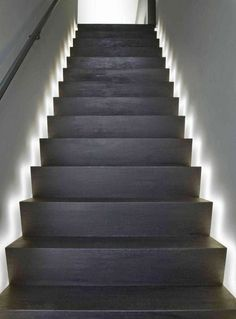 in stair lighting. Stair Tread Lighting: I Love The Look Of These LED Light Strips Integrated With In Lighting