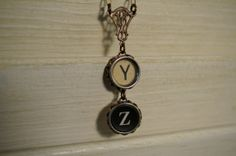 Vintage typewriter key necklace Y Z wise unique gift by 1950six, $34.00
