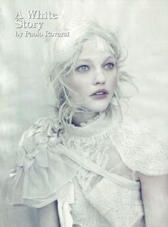 Vogue Italia - A White Story    Paolo Roversi - Photographer  Jacob K - Fashion Editor/Stylist  Odile Gilbert - Hair Stylist  Max DeLorme - Makeup Artist  Jean-Hughes de Chatillon - Prop Stylist