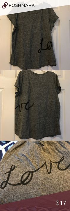 Ann Taylor LOFT Love short sleeve tee gray large Awesome gray tee with love written in cursive the lo is on the front and the crown wraps around your side and is on the back ann taylor loft Tops Tees - Short Sleeve