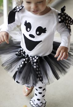 Ghost Halloween Tutu Costume - Outfit  CUTE AND YOU CAN ADD LAYERS TO STAY WARM