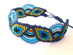 Items similar to Macrame Bracelet/Evil Eye/Micromacrame Jewelry/Friendship Bracelet on Etsy Macrame Knots, Micro Macrame, Macrame Jewelry, Macrame Bracelets, Jewelry Bracelets, Jewlery, Types Of Knots, Bracelet Knots, Macrame Patterns