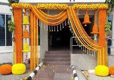 Marigold Entrance by Priti Nagpal. Indian Wedding Stage, Outdoor Indian Wedding, Wedding Stage Backdrop, Wedding Mandap, Wedding Receptions, Wedding Ceremony, Desi Wedding Decor, Wedding Hall Decorations, Marriage Decoration