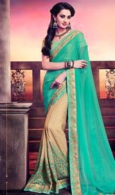 Turquoise and Beige Color Georgette Half N Half Sari #indiandesignersareesonline #designersari Heighten your charm with this turquoise and beige color georgette half n half sari. The brilliant attire creates a dramatic canvas with terrific lace, patch, stones and velvet patch work. Upon request we can make round front/back neck and short 6 inches sleeves regular saree blouse also. USD $ 88 (Around £ 61 & Euro 67)