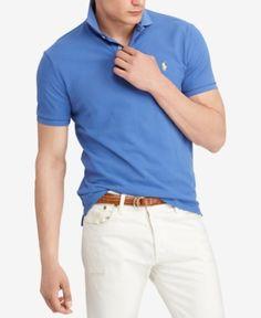Polo Ralph Lauren Men s Custom Slim Fit Mesh Polo - Blue XXL Polos Azuis 021608ef10a4e