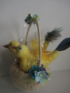Spun Cotton Yellow Birds in Nest ornament by Maria Pahls