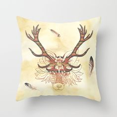 Aztec Wolf Throw Pillow