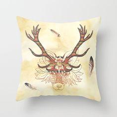 Aztec Wolf Throw Pillow