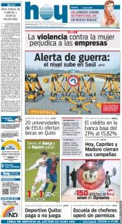 Hoy, a morning newspaper in Ecuador, has been published continuously since 1982. Its parent office is located in the city of Quito, and it is currently published simultaneously in Guayaquil.