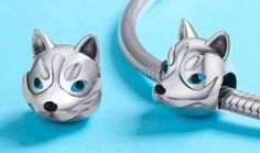 Husky Charm fits Brand Bracelets & European and Necklaces - Authentic Sterling Silver - Husky Bead Charm Pendant - Husky Bracelet Silver Wolf Necklace, Necklace Chain, Cute Cushions, Cute Husky, Big Blue Eyes, Wolf Jewelry, Pandora Bracelet Charms, Gifts For My Boyfriend, Silver Gifts
