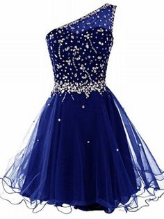 Dresstells Short One Shoulder Prom Dresses Tulle Homecoming Dress with Beads Royal blue Size 2 Prom Dresses With Sleeves, Tulle Prom Dress, Prom Dresses Blue, Pretty Dresses, Beautiful Dresses, Short Dresses, Party Dress, Dance Dresses, Dress Wedding