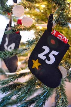 Felt mini stocking Advent calendar on @iron&twine (store bought, but could be diy'ed!) #diy #Christmas #holiday #decor #AdventCalendar
