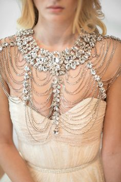 12 Must-Have Bridal Accessories - Bridal shoulder necklace by PowderBlueBijoux. 12 must-have bridal accessories on IntimateWeddings. Wedding Bracelet, Bridal Necklace, Wedding Jewelry, Wedding Rings, Shoulder Jewelry, Shoulder Necklace, Creative Wedding Inspiration, Back Jewelry, Bridesmaid Jewelry