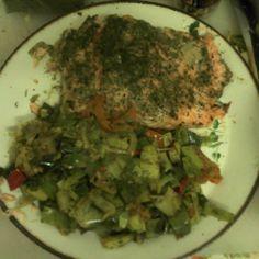 Salmon, Leek, Tomato, Black Pepper, salt,