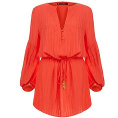 Vix Paris Coral Red Tunic ($77) ❤ liked on Polyvore featuring tops, tunics, dresses, red, shirts, blusas, v neck shirts, v neck top, caftan tunic and button front shirt
