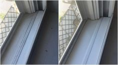 Your window frames will be clean in no time! Do you hate cleaning the window frames? That's why went on a search for a useful tip that'll help. Cleaning Solutions, Cleaning Hacks, Cleaning Routines, Cleaning Window Tracks, Clean Refrigerator, Window Seal, Clean Window, Vinegar And Water, Diy Cleaners