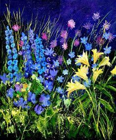 """Pol Ledent: """"Garden Flowers"""", Oil."""