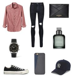 """""""Untitled #299"""" by niniber002 ❤ liked on Polyvore featuring AMIRI, Banana Republic, Converse, Longines, Calvin Klein, FOSSIL, Balmain and New Era"""