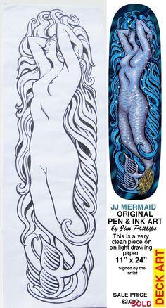 Jason Jessee Mermaid deck -Jim Phillips Art Skateboard Logo, Skateboard Design, Old School Skateboards, Skate And Destroy, Ondine, Skate Art, Skate Decks, Garage Art, Elements Of Design
