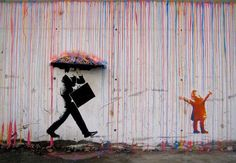 A sweet take on the rain effect with dripping paint by Skurktur (www.facebook.com/skurktur or www.skurktur.com) from Norway.