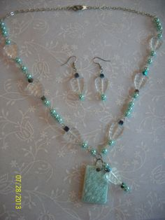 Spring Green Pearl & Clear Leaves Jewelry Set - Aqua - Light Green - Sea Green by DysfunctionalAries, $22.00
