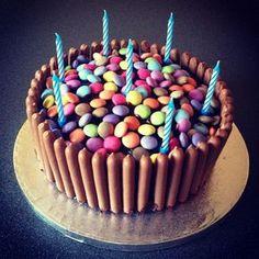 Chocolate Fingers and Smarties Birthday Cake Chocolate F Chocolate Birthday Cake Kids, Chocolate Finger Cake, Birthday Cake For Him, Birthday Chocolates, Birthday Desserts, Cool Birthday Cakes, Happy Birthday, Birthday Ideas, Cupcakes