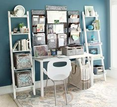 Home Office Ideas - like the color of the wall