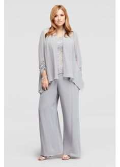 Mother of the Bride | Three Piece Beaded Chiffon Pant Suit 995002DB