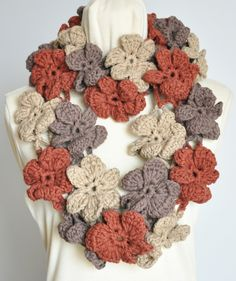Floral Cotton Infinity - Earth - Crochet Multicolor 3D Flower Infinity Circle Scarf by jennysunny on Etsy