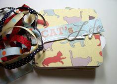 Cat Mini Album, Mini Album, Scrapbook, Memory Book, Coaster Album, Chipboard Album, Brag Book, Photo Album, Cat, Premade Album by HampshireRose on Etsy