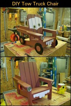 Your kids will surely love this Mater-designed kiddie Adirondack chair! Diy Kids Furniture, Diy Pallet Furniture, Diy Pallet Projects, Handmade Furniture, Repurposed Furniture, Easy Diy Projects, Furniture Makeover, Home Furniture, Furniture Design