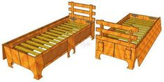 Single Folding Bed #102 | 3D Woodworking Plans
