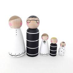 PegandPlum Peg doll family // The Black & White Family // doll house family // peg dolls