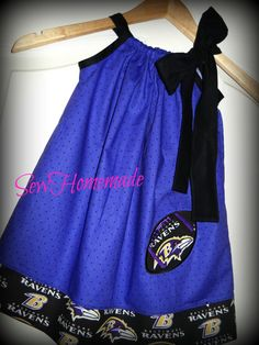 RAVENS PILLOWCASE DRESS  Baltimore Ravens Dress  by soohomemade, $25.00