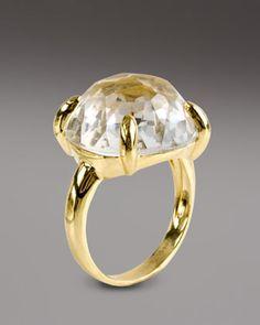 "Clear Quartz Lollipop Ring by Ippolita at Bergdorf Goodman.  Round-cut clear quartz face.  18-karat yellow gold.  Approx. 1"" diameter.  Imported."