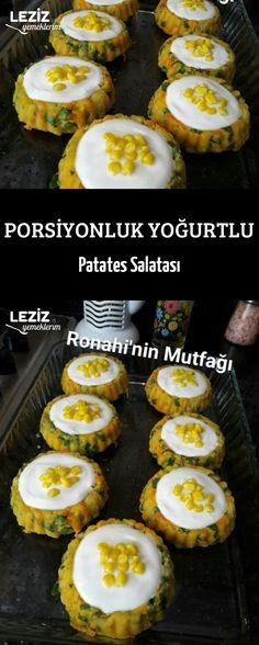 Portioned Yogurt Potato Salad – My Delicious Food - Essen Food Decoration, Turkish Recipes, Pickles, Potato Salad, Yogurt, Salads, Brunch, Food And Drink, Appetizers