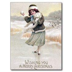 Ouderwetse Vintage Kerstmis van de Schaatser van Briefkaart