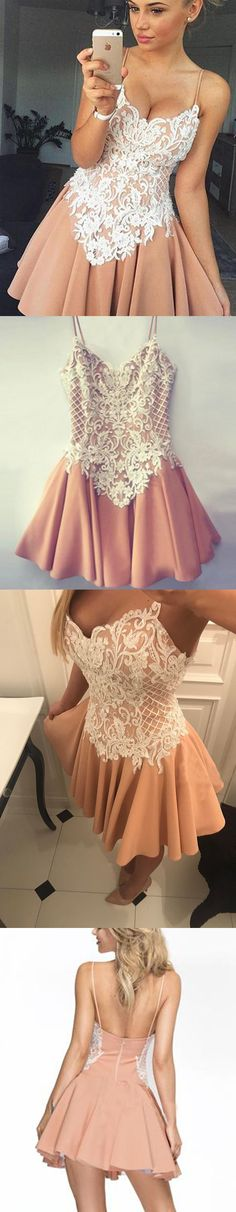Cheap Lace Top Spaghetti Strap Lovely Short Homecoming Dresses, WG812 #homecoming #homecomingdress #schooldress #graduation