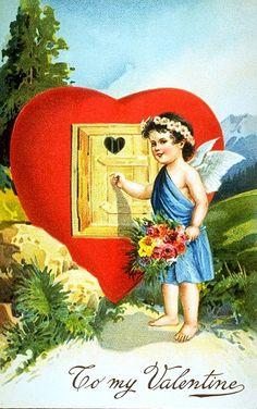 открытка купидон стучится в сердце с днем Валентина