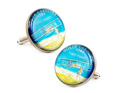 Hand Painted North Carolina State Quarter Cufflinks