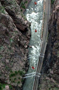 River rafters seen from the Royal Gorge Bridge